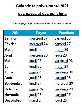 Calendrier des payes et pensions 2021   UNSA Éducation