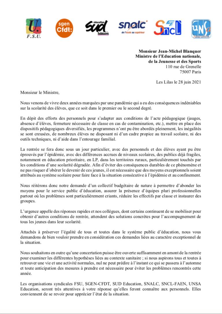 Rentrée 2021 : lettre intersyndicale au ministre
